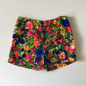 Vintage 60s 70s Floral High Waist Shorts Size M L